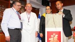 """משמאל לימין: ד""""ר מונדר בולוס, פרופ' חיים המרמן, ד""""ר אסתי גולן ונציג המשלחת מסין (צילום: פיוטר פליטר, באדיבות דוברות רמב""""ם)"""