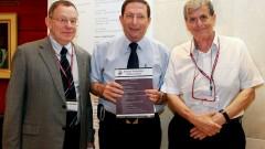 מימין לשמאל: פרופ' צ'חנובר, פרופ' בלזר ופרופ ביאר. צילום: פיוטר פליטר