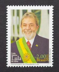 בול המציג את דיוקנו של נשיא ברזיל לשעבר, לולה (צילום: אילוסטרציה)