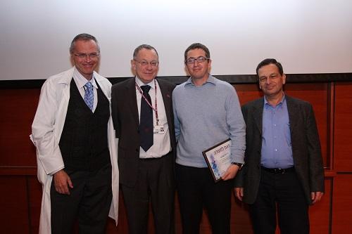 """מימין: פרופ' אהוד קליין, דר' לירן שלוש, פרופ' רפי ביאר ופרופ' קרל סקורצקי, ב-2010 (צילום: פיוטר פליטר / רמב""""ם)"""