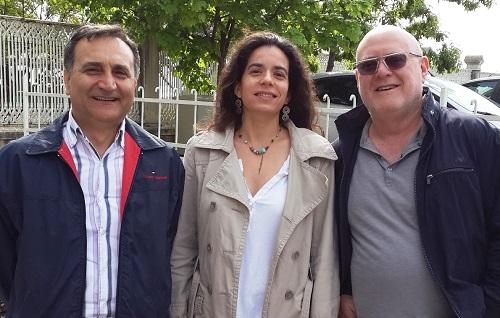 """מארגני הכנס באיסטנבול. משמאל: פרופ/ סיוווליוגלו, ד""""ר נעמה מרקוס, פרופ' מנחם נוימן (צילום: """"זיו"""")"""