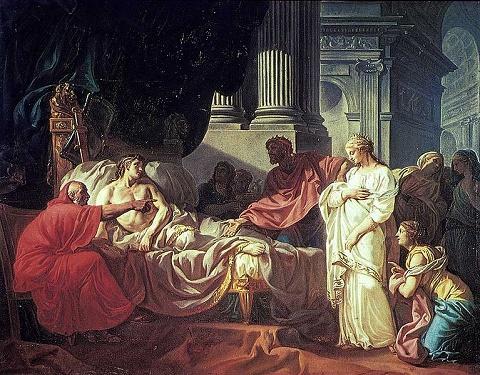 Erasistratus Discovering the Cause of Antiochus' Disease  1774 oil painting by French artist Jacques-Louis David בתמונה הרופא לבוש בגלימה אדומה בודק את דופק ידו של הנסיך ומצביע על מושא האהבה האמיתי של הנסיך, אימו החורגת.